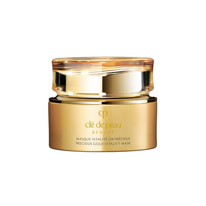 A magnified image of the texture of the Precious Gold Vitality Mask,