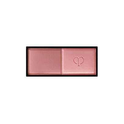 A magnified image of the texture of the Powder Blush Duo Refill, Peach tulip