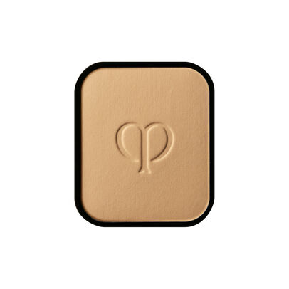 A magnified image of the texture of the Radiant Powder Foundation Refill, Deep Ochre